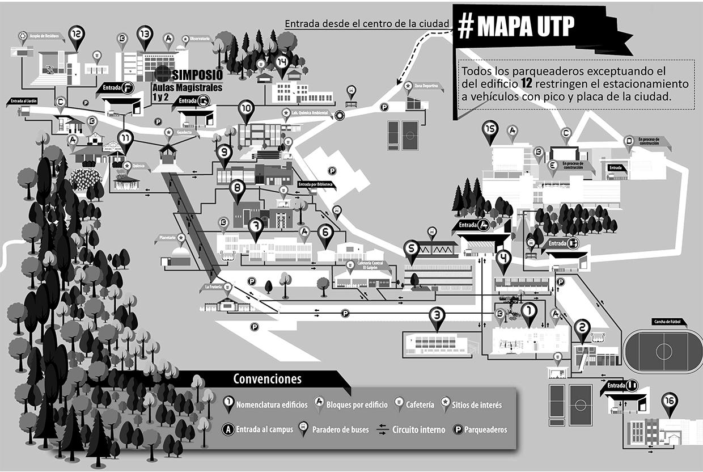 Mapa de la Universidad Tecnológica de Pereira